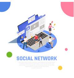 Social media isometric composition vector