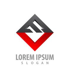 square initial letter mv logo concept design vector image