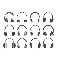 studio headphones icons vector image