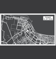 Sumgait azerbaijan city map in black and white vector
