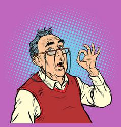 Surprise elderly man with glasses okay gesture vector