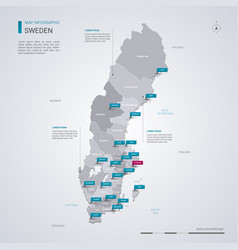 sweden map with infographic elements pointer marks vector image