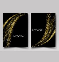 Template design invitations gold particleos vector