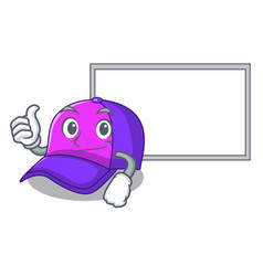 Thumbs up with board cap shape in the a cartoon vector