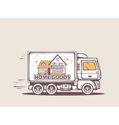Truck free and fast home delivery of good vector