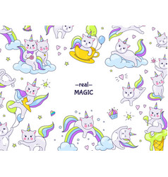 Unicorn cats stickers border funny animal vector