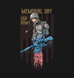 Us army memorial day with america flag vector