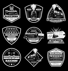 Vintage white locomotive train labels set vector