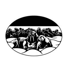 Walruses family arctic landscape - wildlife vector