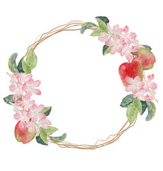 Watercolor apple blossom and ripe fruit wreath vector