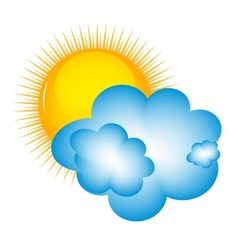 Weather Icons with sun cloud and thermometer vector