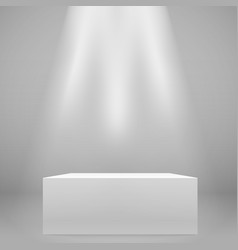 White illuminated wide stand on wall mockup vector