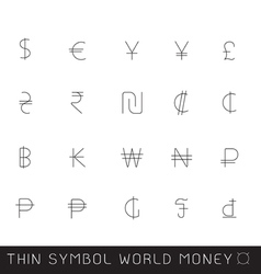 World money thin symbol eps10 vector