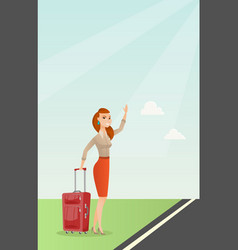 Young caucasian woman with suitcase hitchhiking vector
