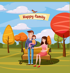 Young family with toddler walking in the park vector