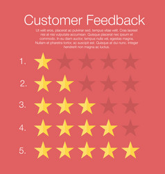 customer feedback five rating levels with stars vector image