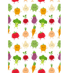 cute happy smiling raw vegetable collection vector image
