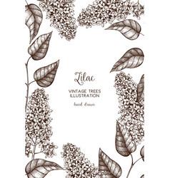 design with lilac tree sketch vector image vector image