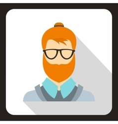 Hipster man icon flat style vector image vector image