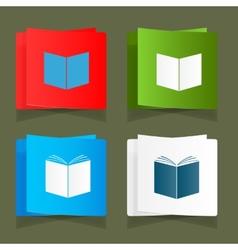 Set icon of an open book vector image