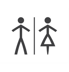 simple grey and white wc symbols man and woman vector image
