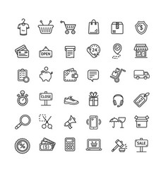 ecommerce icon black thin line set vector image