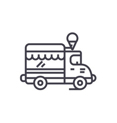 ice cream food truck line icon sign vector image