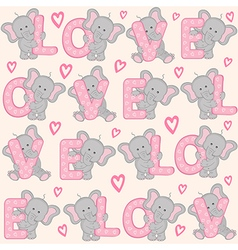 seamless pattern with cute valentine elephant vector image vector image