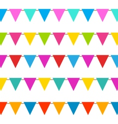 Set Hanging Bunting Pennants Colorful Decoration vector image