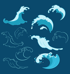 set of sea waves of different shapes vector image vector image