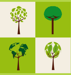 set of trees ecology shape differents environment vector image vector image