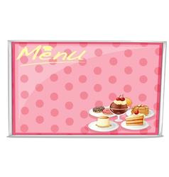 Various cake menu vector