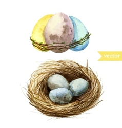 watercolor egg set Easter vector image