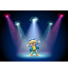 A man dressing up as a clown at the stage vector image vector image