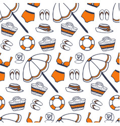 beach summer pattern in vintage style vector image vector image