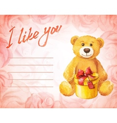 Greeting card Teddy bear with a gift on a vector image vector image