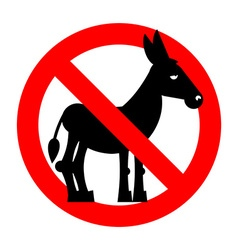 Stop donkey Ban stupid people Prohibited fool vector image vector image