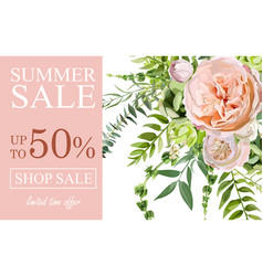 summer sale banner poster background with pink vector image vector image