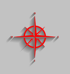 wind rose sign red icon with soft shadow vector image vector image