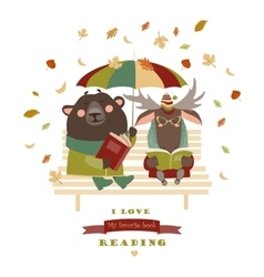 Cute bear and funny elk reading books on bench vector image vector image