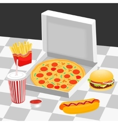 Fast food on the table vector image vector image