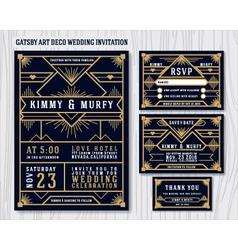 Gatsby art deco wedding invitation design vector