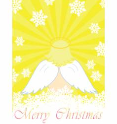 gold christmas card with baby angel vector image vector image
