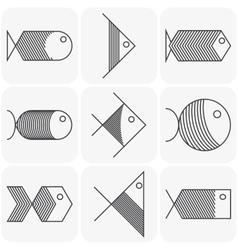 Set of black fish icons on white background vector image