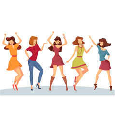 set of woman or girl dancing at party or disco vector image vector image