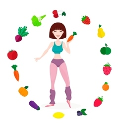 Slim athletic girl fresh vegetables and fruits vector image