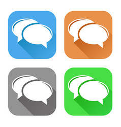 speech bubbles set of colored square icons vector image