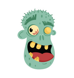 Undead smiling man head avatar in cartoon style vector