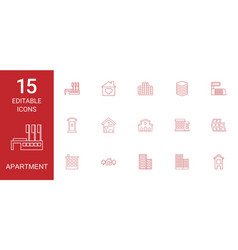 15 apartment icons vector image