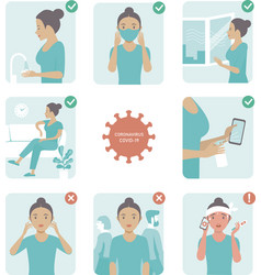 2019-ncov covid-19 virus protection tips vector